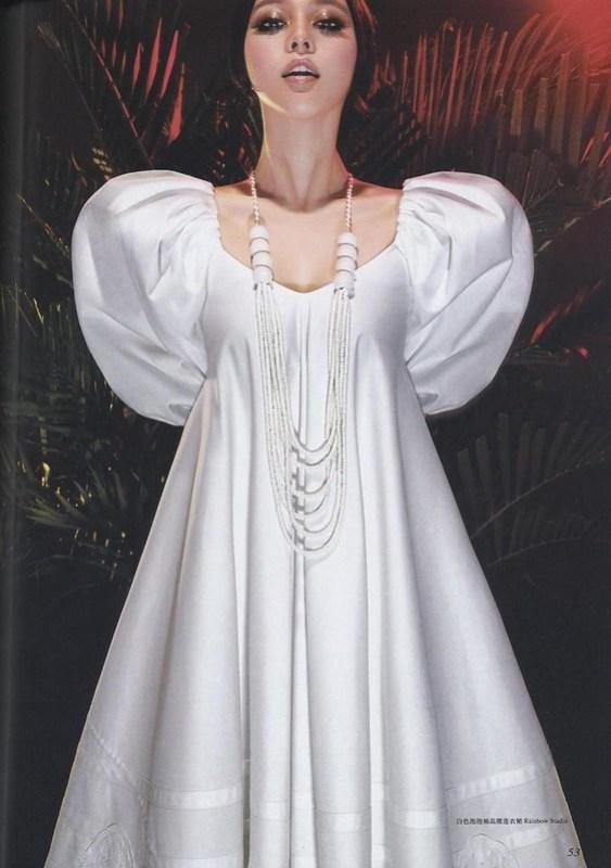 白色パフスリーブのハイウェスト・ワンピース : ファン・ピンピン ファン・ピンピン ロフィシェル 第166号 2006年7月号 チェン・マン チャン・タン