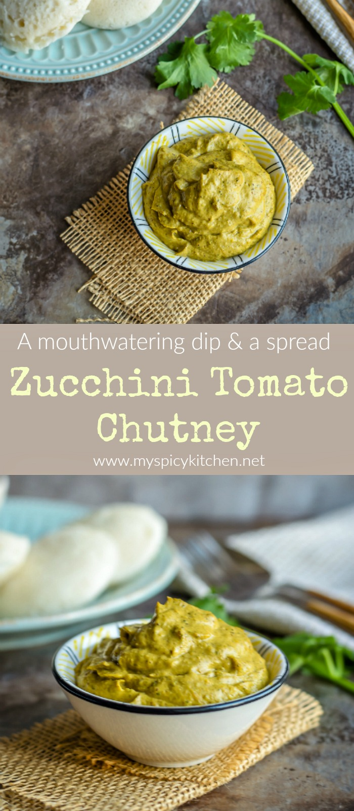 Bowl of zucchini tomato pachadi