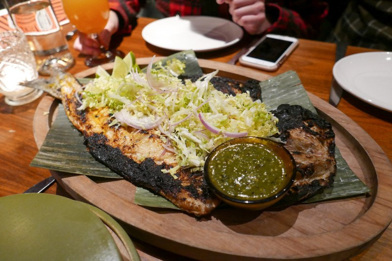 Butterflied Baja Pacifico striped bass, Nayarit-style zarandeado (roasted garlic, Worcestershire, soy, arbol chile) ($48)