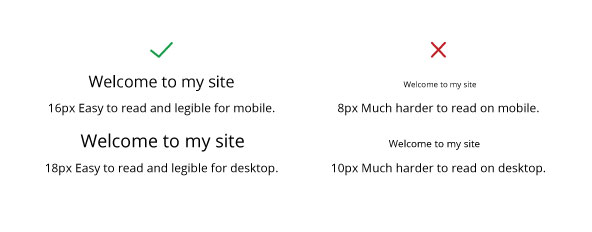 An example of legible font sizes for desktop and mobile