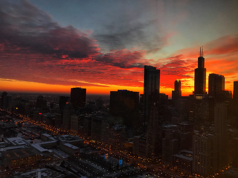 Winter sunset in Chicago