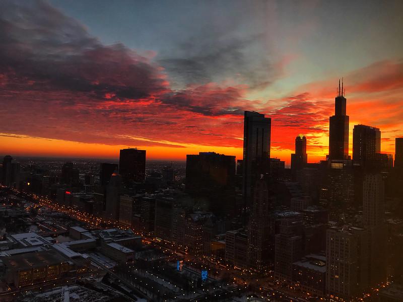 Winter sunset in Chicago