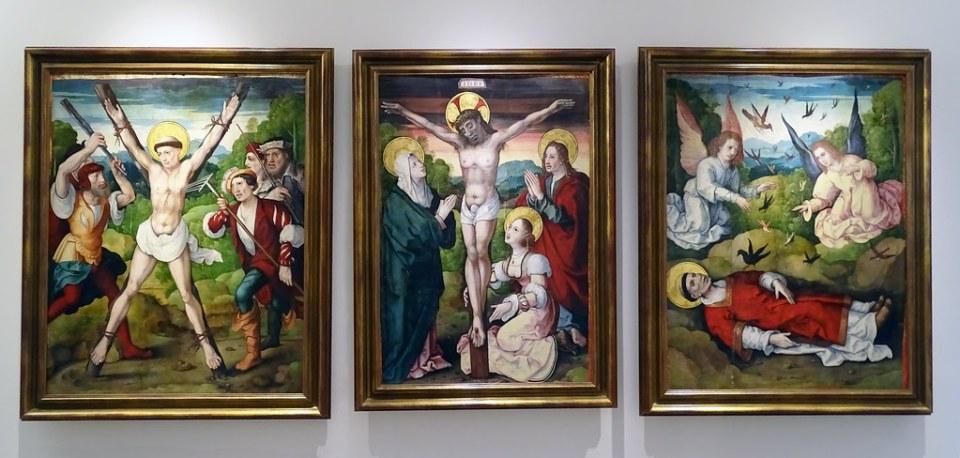 Museo Catedral de Burgos Martirio de San Vicente en el eculeo Crucifixion El cadaver de San Vicente guardado por cuervo Retablo de Santa Casilda de Leon Picardo
