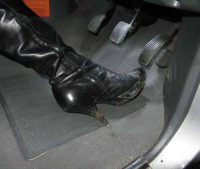 Revving And Pedal Pumping In My Leather Over Knee Stiletto Boots