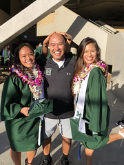 UH Manoa women's tennis graduates Roxanne Resma and Cindy Nguyen with head coach Jun Hernandez