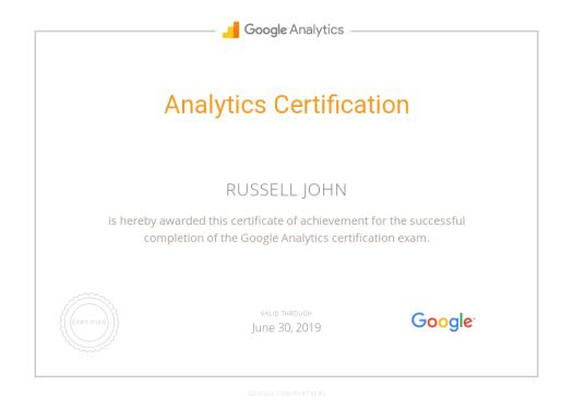 Google Analytics Certificate - Russell John