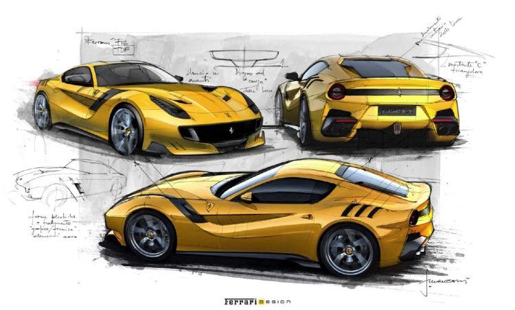Ferrari F12TdF sketches by Flavio Manzoni