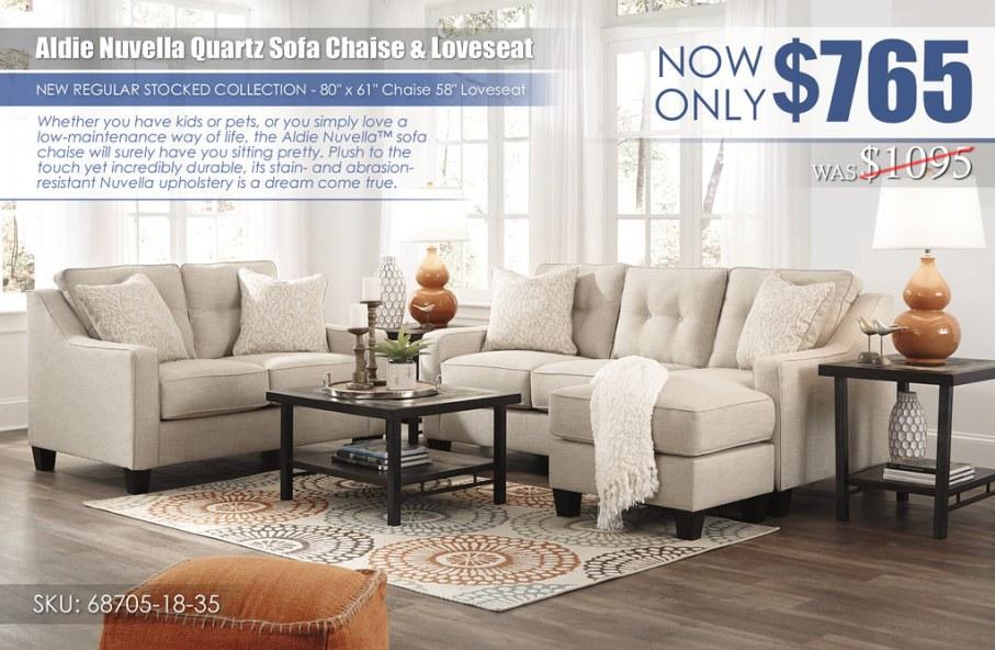 Aldie Nuvella Quartz Sofa Chaise & Loveseat_68705-18-35-T053