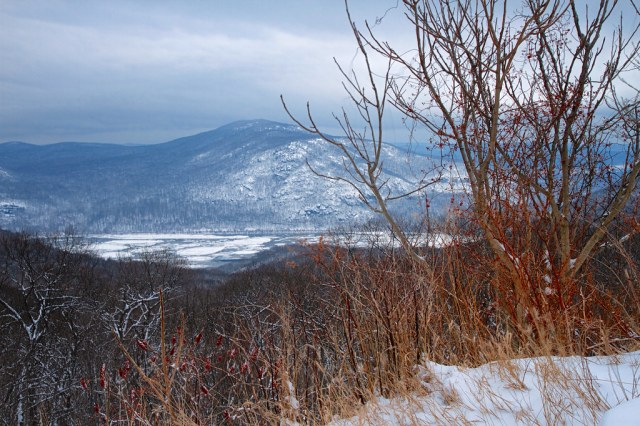 Overlooking the Icy Hudson River