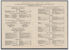 A sample House of Representatives restaurant menu: 1933