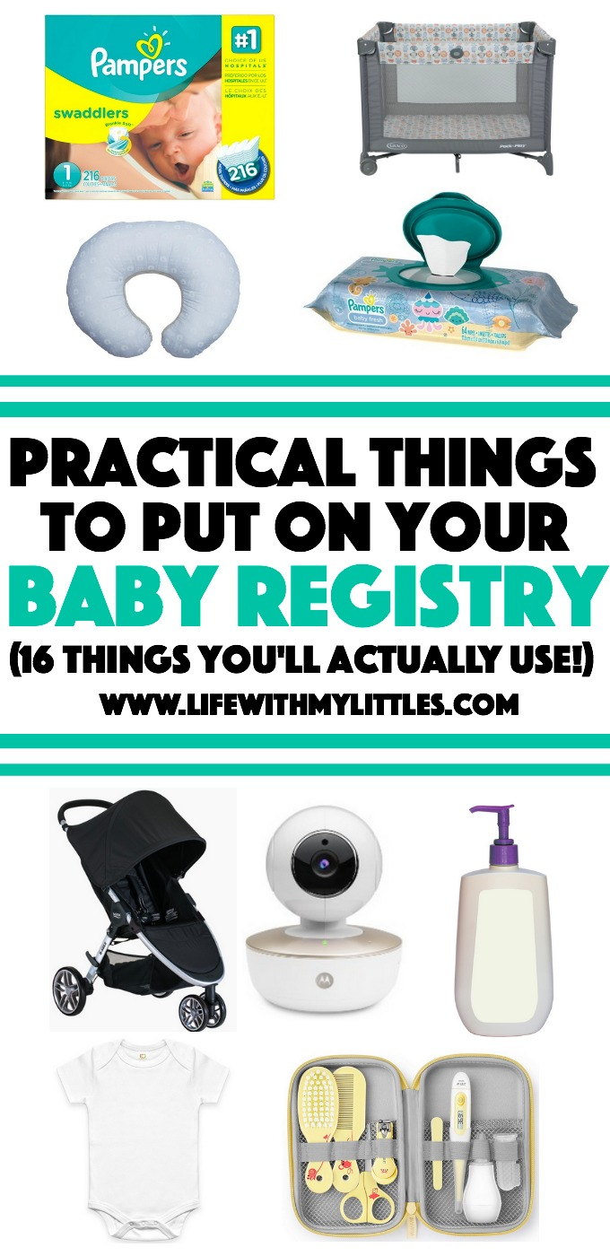 These 16 practical things to put on your baby registry are a life saver! A great list of things you'll actually use that you won't regret registering for!