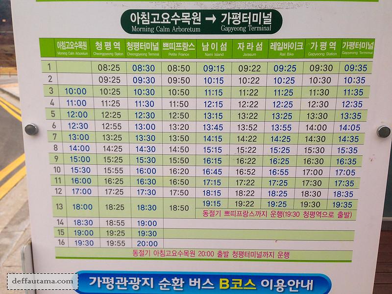 Garden of The Morning Calm - Shuttle Bus Timetable 2