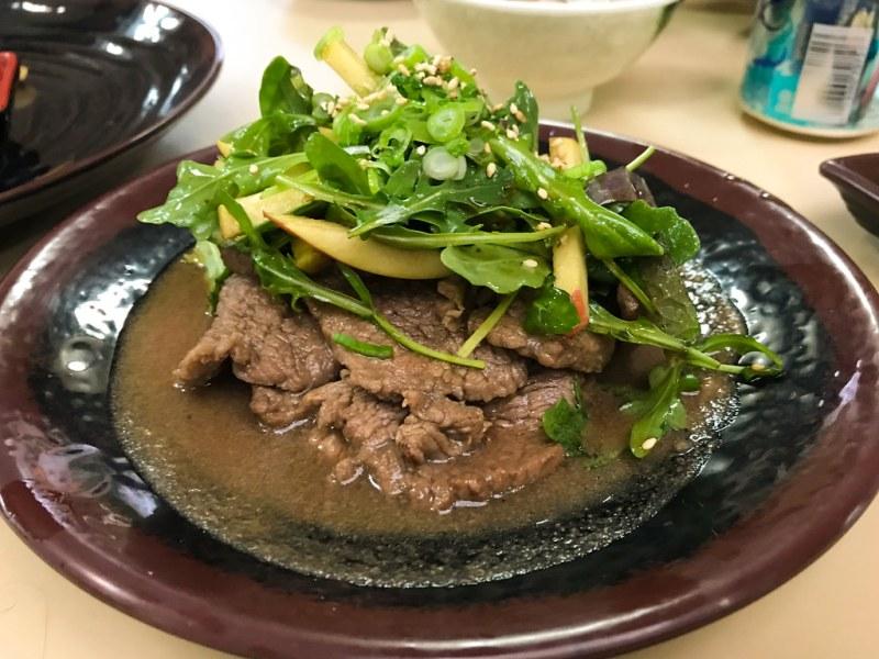 Beef Bulgogi, crisp apple, arugula salad, soy and sesame vinaigrette, barley rice ($12.05)