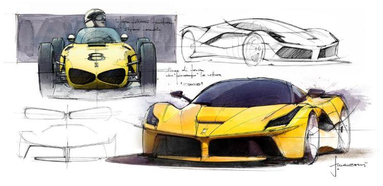 Ferrari LaFerrari and 156 Sharknose sketches by Flavio Manzoni