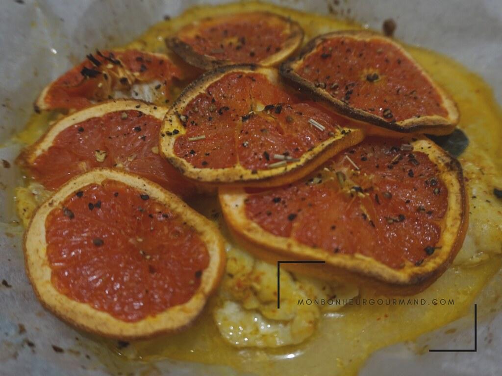 cabillaud pomélo,citronelle,  et feuille de combava 2