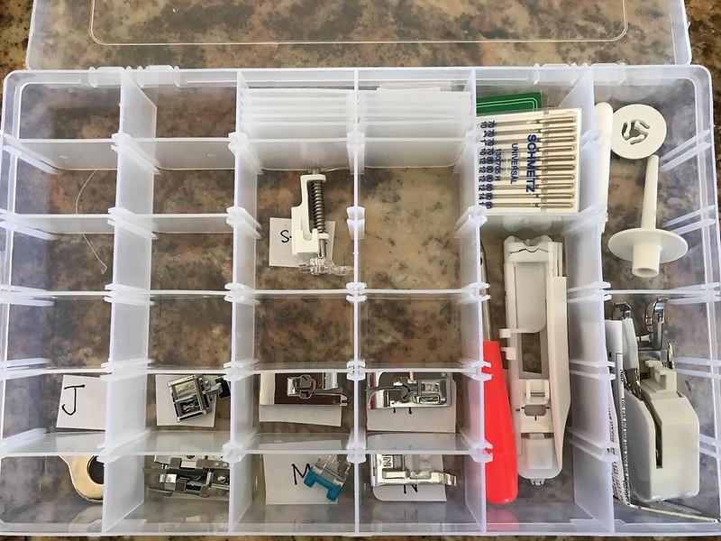 Presser foot storage