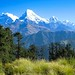 Annapurna and green landscape in Nepal