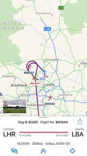Plane circling above LBA, and definitely not landing at 14:30