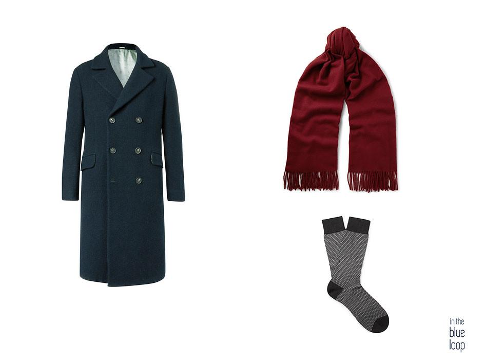 Manteau homme avec foulard et chaussettes