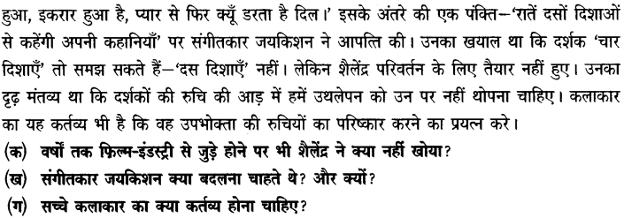 Chapter Wise Important Questions CBSE Class 10 Hindi B - तीसरी कसम के शिल्पकार शैलेंद्र 14a