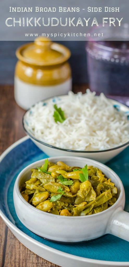 A bowl of chikkudukaya kura or Indian broad beans in a platter along with a bowl of white rice.
