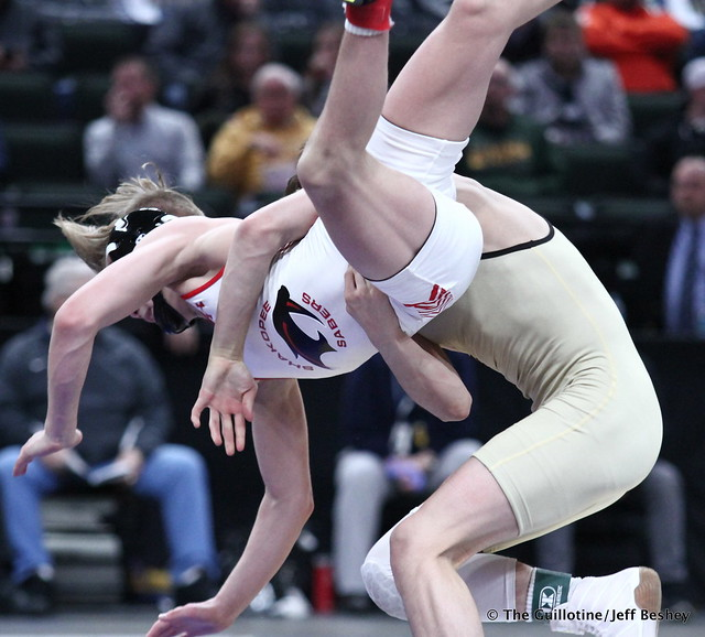 1st Place Match - Joey Thompson (Maple Grove) 46-0 won by decision over Paxton Creese (Shakopee) 45-2 (Dec 6-3). 180303CJF0041
