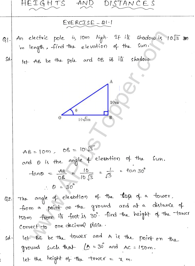 ml-aggarwal-icse-solutions-for-class-10-maths-chapter-21-heights-and-distances-1