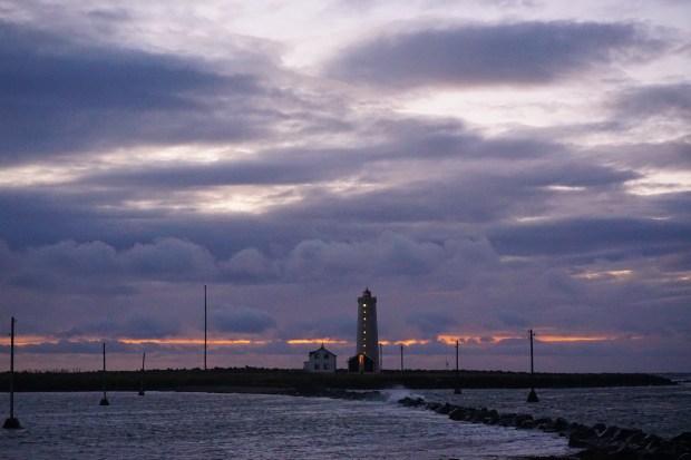 Grótta Island Lighthouse at dusk, Reykjavik