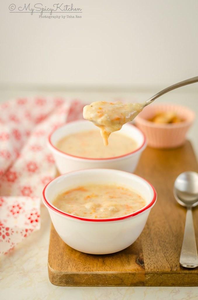 A spoon of instant pot carrot sabudana kheer