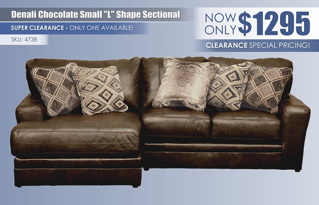 Denali Chocolate Small L Shape Sectional_Clearance_4738