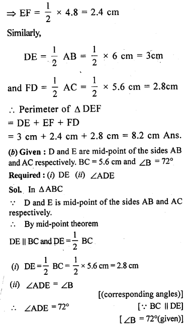 ML Aggarwal Class 9 Solutions for ICSE Maths Chapter 11 Mid Point Theorem    1b