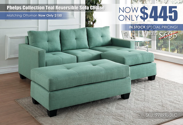 Phelps Reversible Teal Sofa Chaise Clearance_9789TL-3LC