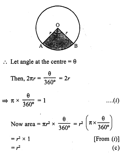 RD Sharma Class 10 Solutions Chapter 13 Areas Related to Circles MCQS -41a