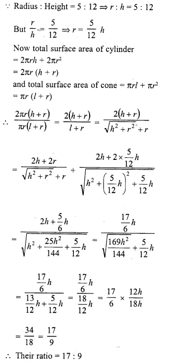 RD Sharma Class 10 Solutions Chapter 14 Surface Areas and Volumes  VSAQS 14