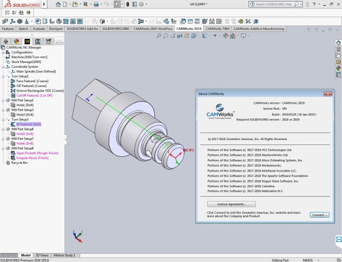 Working with CAMWorks 2019 SP1.0 for solidworks 2018-2019 x64 full license