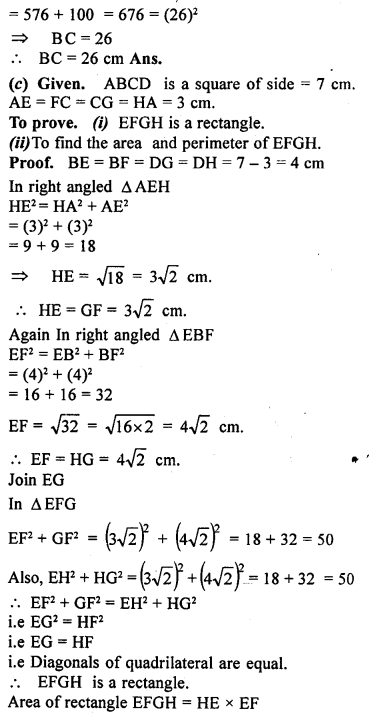 ML Aggarwal Class 9 Solutions for ICSE Maths Chapter 12 Pythagoras Theorem     19c