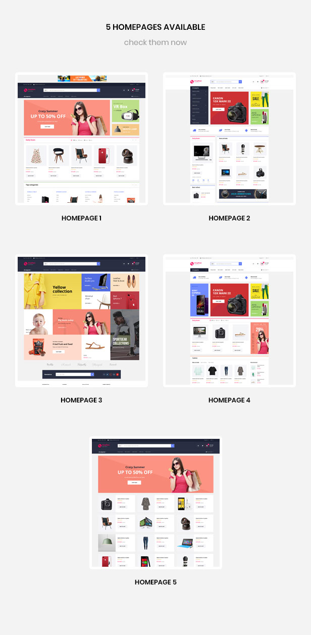 multiple homepages for hitech, fashion, furniture, food, sport store
