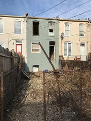 Rear of rowhouse during rehabilitation, 311 E. 27th Street, Baltimore, MD 21218