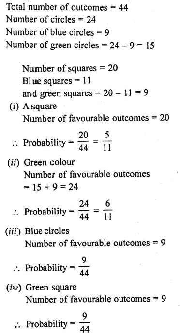 Solution Of RD Sharma Class 10 Chapter 13 Probability
