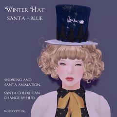 *NAMINOKE*WinterHatSantaBlue
