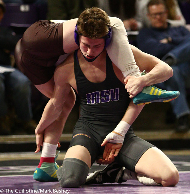 149: Kyle Rathman (MSU) wins an 11-3 major decision vs Justin Haneke (SMSU) | 13-6 - 190125mke-0060