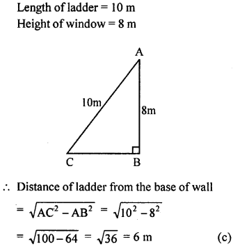 ML Aggarwal Class 9 Solutions for ICSE Maths Chapter 12 Pythagoras Theorem     mcq5