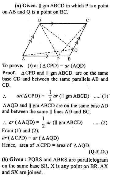ML Aggarwal Class 9 Solutions for ICSE Maths Chapter 14 Theorems on Area     6a