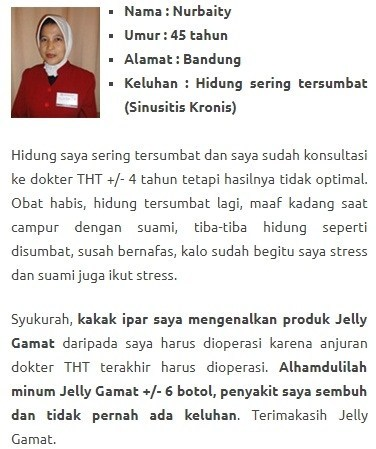 Testimoni QnC Jelly Gamat Atasi Penyakit Sinusitis