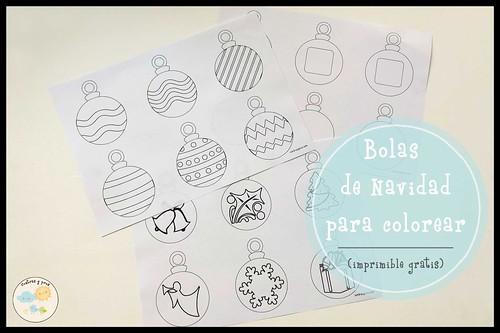 Bolas de Navidad para colorear. Imprimible gratis
