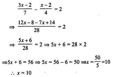 Selina Concise Mathematics class 7 ICSE Solutions - Simple Linear Equations (Including Word Problems) -c26..