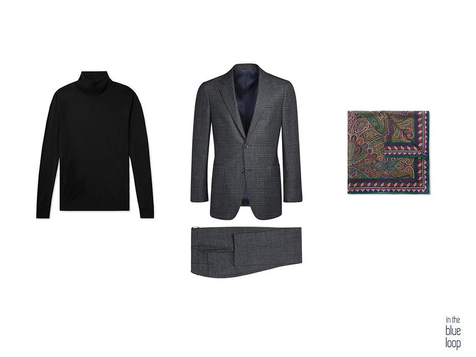 Look formal masculino con traje gris, jersey de cuello vuelto y pañuelo de bolsillo