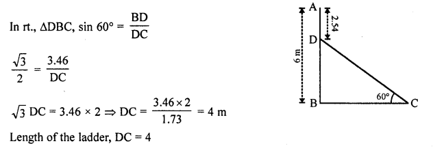 RD Sharma Class 10 Solutions Chapter 12 Heights and Distances VSAQS - 9