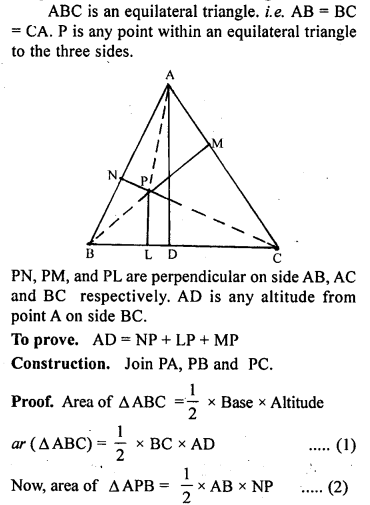 ML Aggarwal Class 9 Solutions for ICSE Maths Chapter 14 Theorems on Area    ct 4