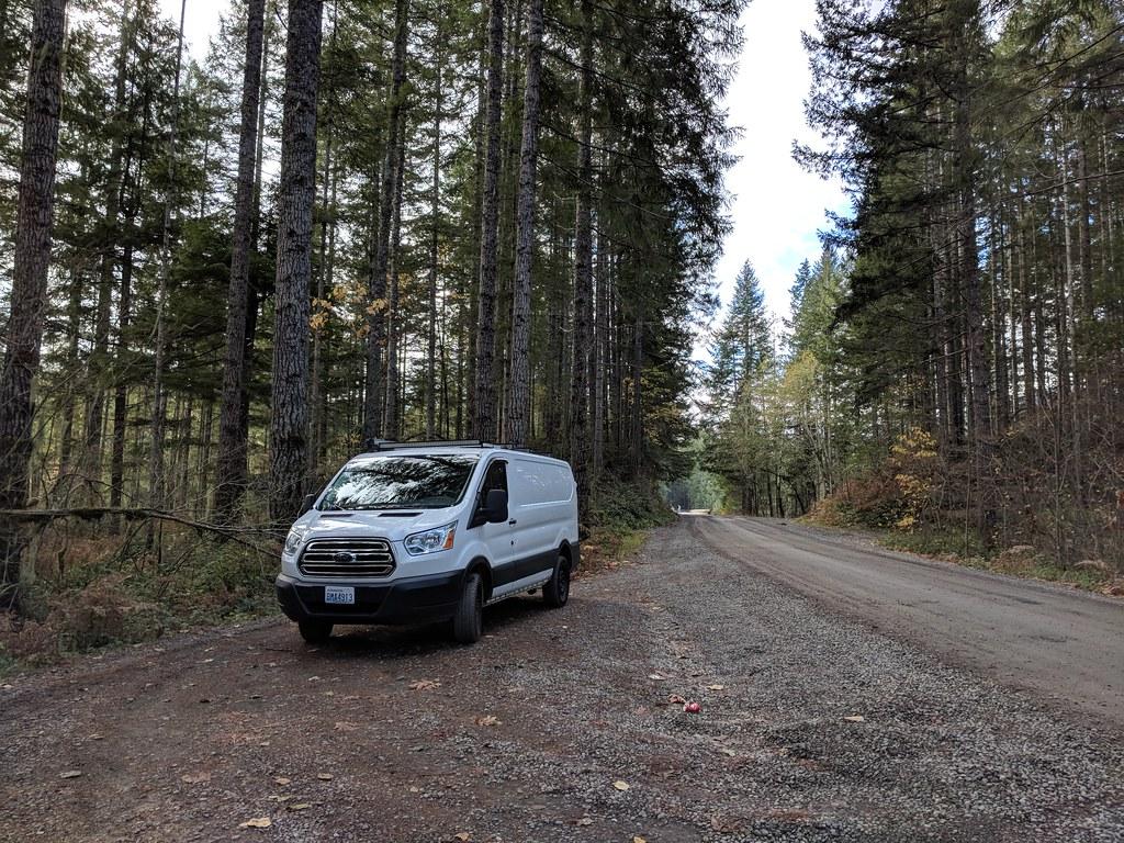 camper van on forest road